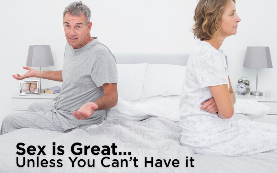 Sex is great, man and women seating on bed