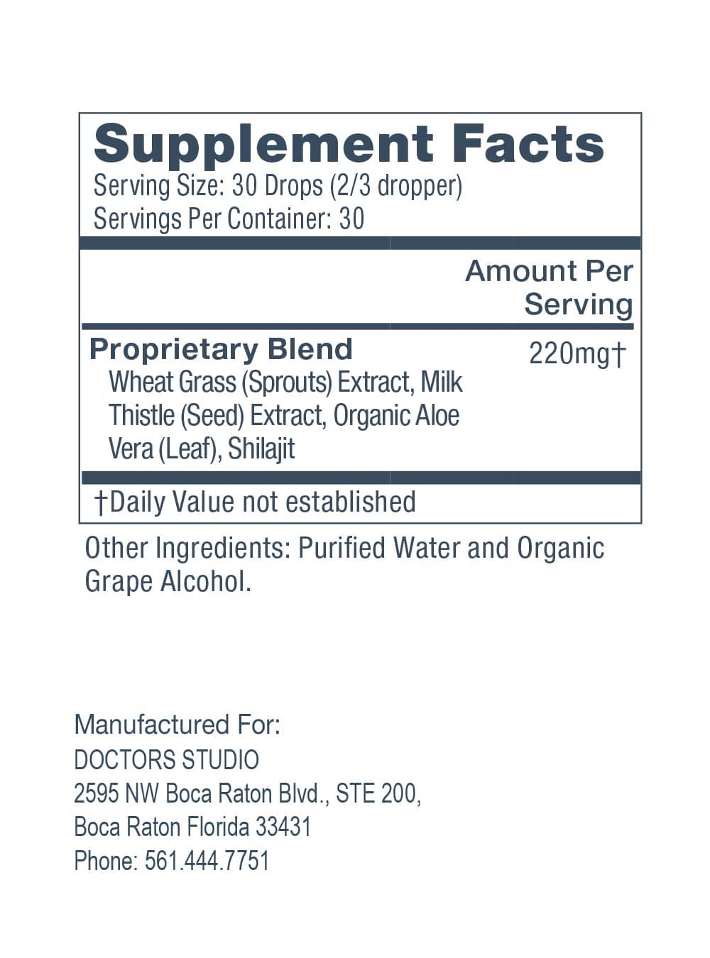 DeTOX, Supplements Facts
