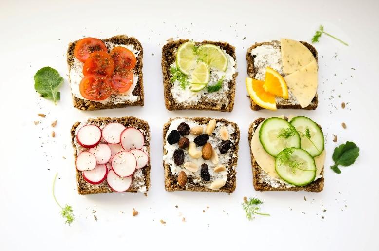 healthy food on top of bread